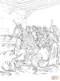 nativity scene with holy family shepherds and animals coloring