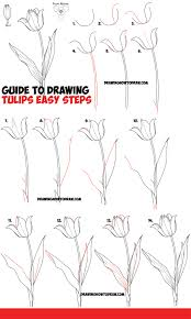 how to draw thanksgiving how to draw tulips easy guide to drawing tulips from side from