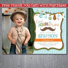 Birthday Invitation Card For Baby Boy 25 Off Mustache Free Thank You Card Birthday Invitation
