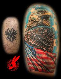 eagle flag tribal cover up tattoo by jackie rabbit by