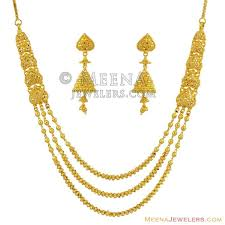gold small necklace designs images 22k exclusive small layered set stgo11860 22k yellow gold jpg