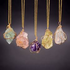 crystal stones necklace images Qilmily handmade irregular natural stone pendant necklaces charm jpg