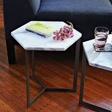 power of books sculptural glass topped side table hex side table steel west elm