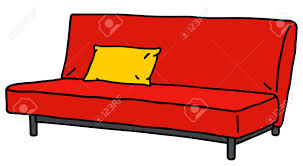 hand drawing of a red simple sofa royalty free cliparts vectors