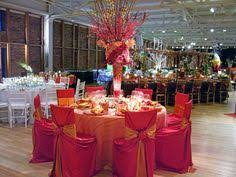 wedding tables and chairs wedding chair covers 1 white covers orange and fuchsia sashes