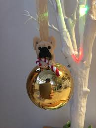 french bulldog christmas bauble glass ball with xmas