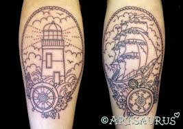 lighthouse in wheel tattoo on arm real photo pictures images