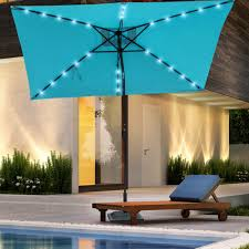 Patio Umbrellas With Led Lights Rectangular Solar Powered 22 Led Lighted Outdoor Patio Umbrella