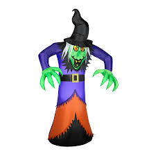 shop gemmy 7 ft internal light witch halloween inflatable at lowes com