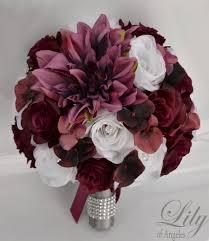 burgundy flowers 17 package wedding bouquet silk flowers bridal party