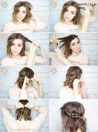 step by step braid short hair messy braided crown for shorter hair tutorial wonder forest