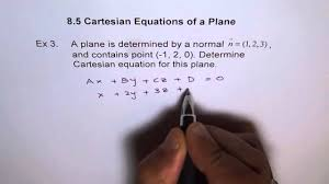 find cartesian equation of plane ex3
