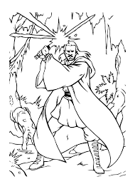 anakin skywalker with two lightsabers coloring page in qui gon