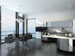 cuisine de luxe moderne noir de luxe moderne et l intérieur de la cuisine de style blanc