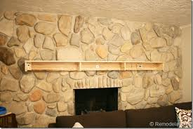 Wood Mantel Shelf Pictures by Remodelaholic Installing A Wood Mantel On A Stone Wall