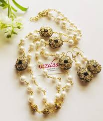 vintage necklace sets images Vintage style pearl golden designer necklace set at 3950 azilaa jpg