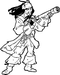 pirates of the caribbean man character jack sparrow gun coloring