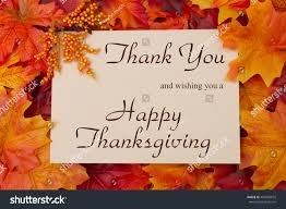 happy thanksgiving message autumn leaves beige stock photo