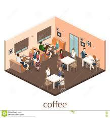 isometric interior of cafe shop flat 3d isometric design interior