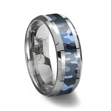 camo wedding rings for him and tungsten carbide ring blue camouflage camouflage wedding ring