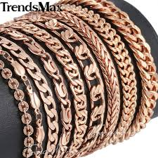 mens bracelet fashion images Trendsmax bracelets for women men 585 rose gold curb cuban snail jpeg