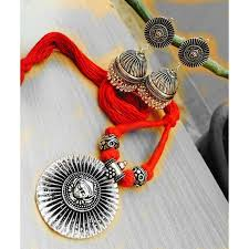 silver jewellery necklace sets images German silver pendant set with customizable thread colour jpg