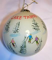 tahoe glass ski ornament