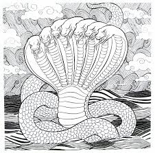 serpent with 7 heads detailed coloring book page for adults