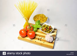 pasta souce ingredients italian rustic cooking healthy food stock