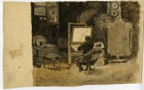 sketch of artist in studio by theodore clement steele 1847 1926