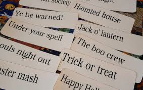 big large halloween phrases flash cards pdf altered art