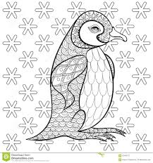 coloring pages king penguin snowflakes zentangle ill