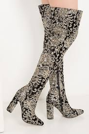 akira over the knee embroidered sequin high chunky heeled boots in