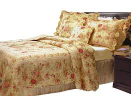 Queen Bedspreads And Quilts Victorian Rose Print Bedding Vintage Floral Quilt Set Twin Full
