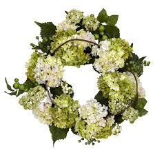 hydrangea wreath nearly 22 0 in h and green hydrangea wreath 4780