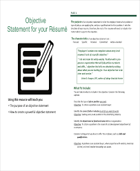 Job Resume Objectives by Sample Resume Objective Statement 8 Examples In Pdf