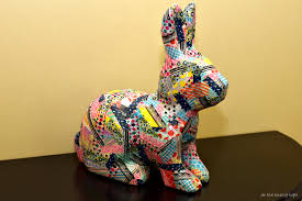 paper mache rabbit washi patchwork bunny as the bunny hops