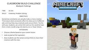 Challenge Minecraft Activity Of The Week Blackjack Challenge Minecraft Education