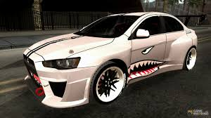mitsubishi lancer evo modified lancer evolution x shark for gta san andreas