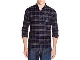 scotch u0026 soda plaid flannel slim fit button down shirt in blue for
