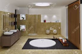 computer generated 3d luxury bathroom interior stock photo