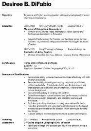 Instructor Resume Samples Amazing Objective For Teaching Resume 11 Sample Teacher Resume