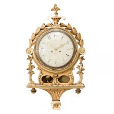 antique hand carved gustavian wall clock for sale at pamono