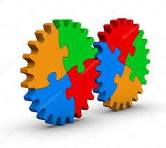 two gears of colorful jigsaw puzzles stock photo almagami 7485022