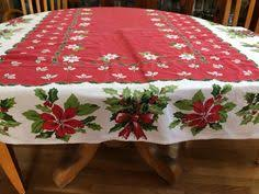 vintage poinsettia tablecloth by contemporaryvintage on etsy