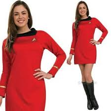 ladies official star trek uhura fancy dress costume womens film