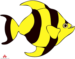 striped tropical yellow and black fish clipart free clipart