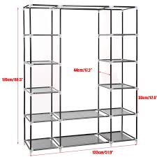 homdox 66inch portable wardrobe metal fabric closet organizer