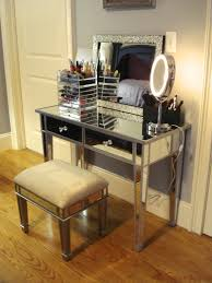 Lamp For Makeup Vanity Mirrored Glass Makeup Vanity Set With Lighting And Foamy Chair
