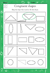 Similar And Congruent Figures Worksheet Congruent Shapes Math Practice Worksheet Grade 1 Teachervision
